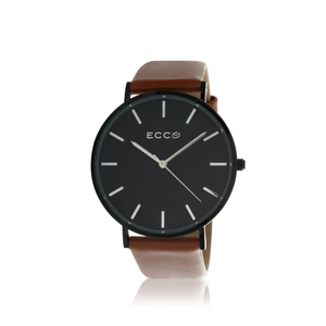 Ellis & Co Collection Black Tone Metro Brown 41mm Unisex Watch