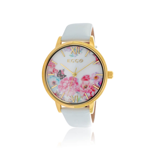 Ellis & Co Collection Floral Gold Tone Bloom Floral White 36mm Womens Watch