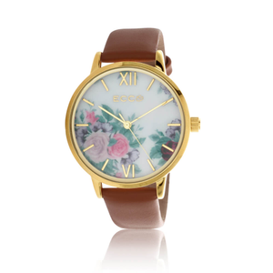 ECC Floral Gold ToneBloom Floral Tan 36mm  Womens Watch