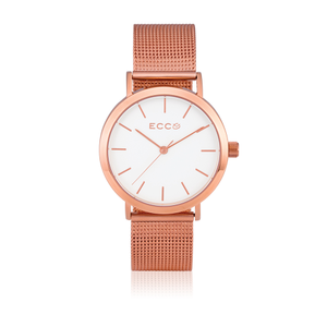 ECC 'Brooklyn' Mesh Rose Tone Stainless Steel Ladies Watch