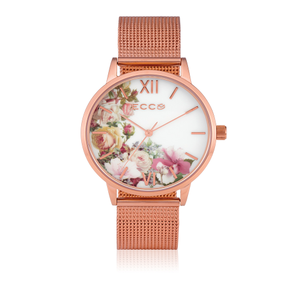 ECC 'Hampton' Floral Mesh Rose Tone Ladies Watch