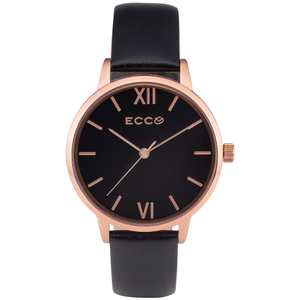 Ellis & Co Collection 'Hampton' Black Leather Strap Ladies Watch