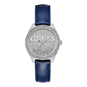 Guess W0823L13 Navy Leather Strap Glitter Dial Ladies Watch