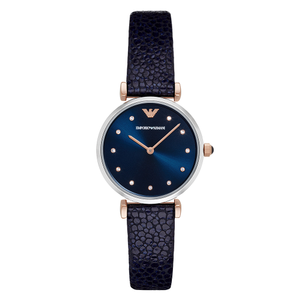 Emporio Armani 'Gianni T-Bar' AR1989 Ladies Navy Leather Watch