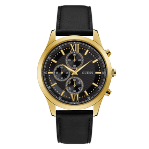 Guess Hudson W0876G5 Black Leather Mens Watch
