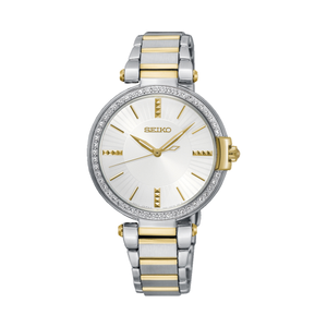 Seiko SRZ516P Two Tone Stainless Steel Ladies Watch With Crystal Set Dial