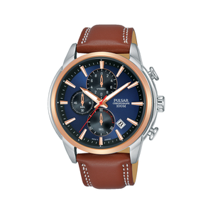 Pulsar PM3120X Brown Leather Chronograph Mens Watch