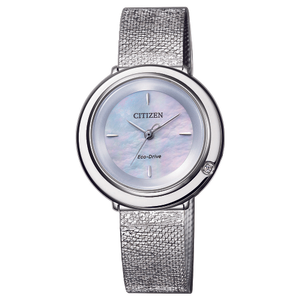 Citizen Eco-Drive Ambiluna EM0640-82D Silver Stainless Steel Mesh Womens Watch