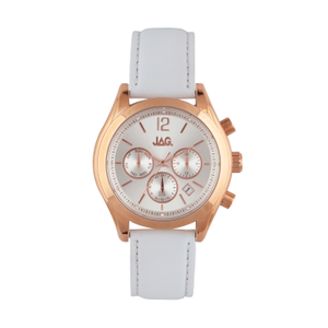 Jag J2175 Multi-funtion White Leather Womens Watch