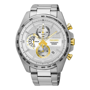 Seiko Chronograph Stainless Steel White Dial Gents Watch