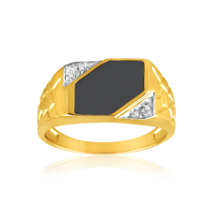 9ct Yellow Gold Diamond + Onyx Ring