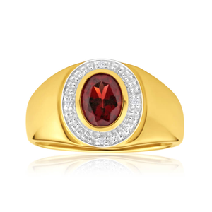9ct Yellow Gold Garnet and Diamond Gents Ring