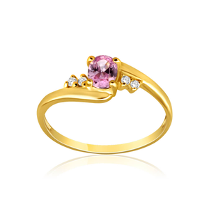 9ct Yellow Gold Pink Cubic Zirconia Ring