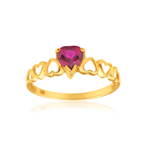 9ct AlluringYellow Gold Created Ruby Ring