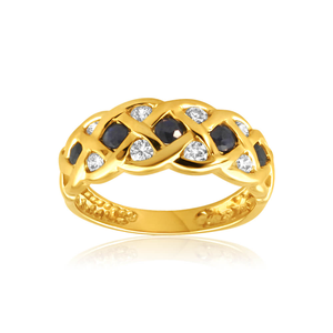 9ct Yellow Gold Natural Sapphire and Cubic Zirconia Plait Ring