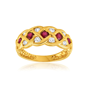 9ct Yellow Gold Created Ruby and Cubic Zirconia Plait Ring