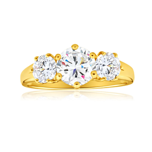 9ct Charming Yellow Gold Cubic Zirconia Ring