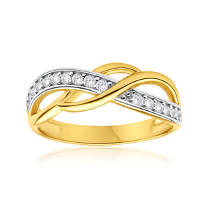 9ct Elegant Yellow Gold Cubic Zirconia Ring