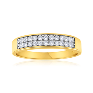 9ct Superb Yellow Gold Cubic Zirconia Ring
