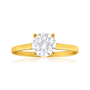 9ct Yellow Gold Gorgeous Cubic Zirconia Ring