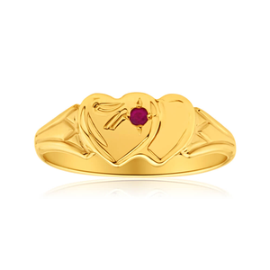 9ct Yellow Gold Ruby 2Heart Signet Ring Size H