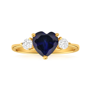 9ct Yellow Gold Cubic Zirconia + Created Sapphire Ring