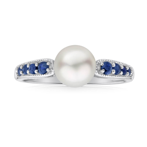 9ct White Gold Natural Sapphire + Pearl Ring