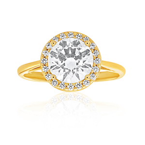 9ct Yellow Gold Classic Cubic Zirconia 8mm Halo Ring