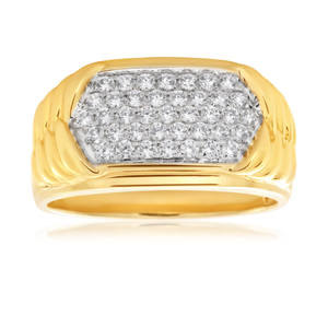 9ct Yellow Gold Pave Cubic Zirconia Ring