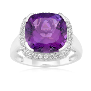 Sterling Silver Amethyst 12mm Cushion Cut  & White Topaz Ring