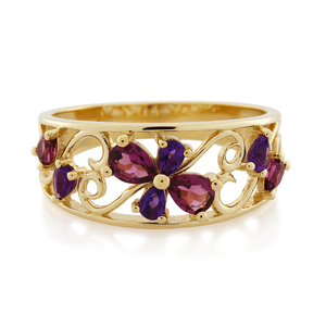 9ct Yellow Gold Rhodolite Garnet and Amethyst Flower Ring