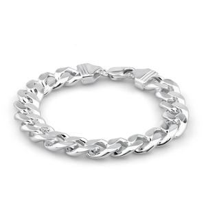 Sterling Silver 350 Gauge Diamond Cut 23cm Curb Bracelet