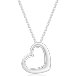 Sterling Silver Heart Open Pendant With 45cm Chain