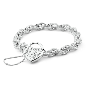 Sterling Silver Fancy Engraved Link Filigree Heart Bracelet