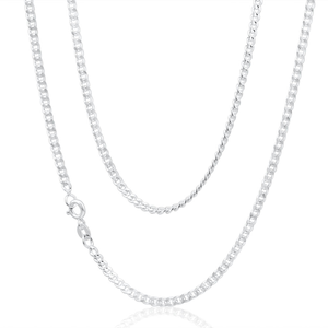 Sterling Silver Curb Dicut 80 Gauge 45cm Chain