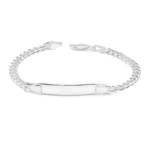 Sterling Silver 19cm Squared & Diamond Cut Curb ID Bracelet