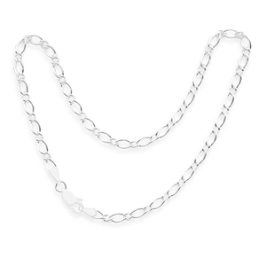Sterling Silver Figaro Oval Anklet