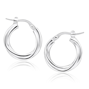 Sterling Silver 12mm Twist Hoop Earrings