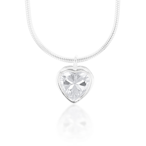 Sterling Silver Cubic Zirconia Heart Pendant & Snake With 40cm Chain