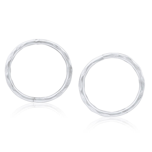 Sterling Silver 10mm Faceted Sleeper Earrings
