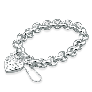 Sterling Silver Hollow Belcher Filigree Heart Padlock Bracelet