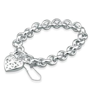 Sterling Silver Belcher Hollow Heart Padlock Bracelet