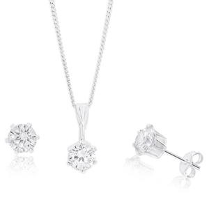 Sterling Silver Cubic Zirconia 6mm Jewellery Set