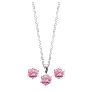 Sterling Silver Pink Cubic Zirconia Jewellery Set