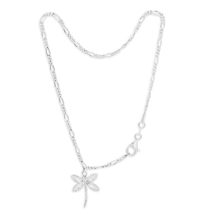 Sterling Silver Figaro Dragonfly Anklet
