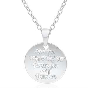 Sterling Silver Disc Daughter Pendant