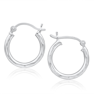 Sterling Silver Cutout Hoop Earrings