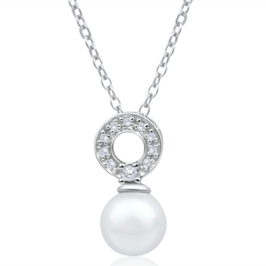Sterling Silver Cubic Zirconia + Pearl Drop Pendant