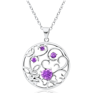 Sterling Silver Cubic Zirconia Purple Round Cutout Pendant