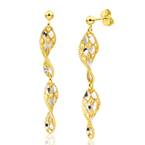 Gold Plated Sterling Silver Drop Twist Drop Earrings
